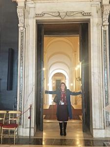 Ann-Maree holding up the Italian Senate